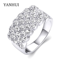 YANHUI Brand New Trendy Rings Jewelry Real 18K White Gold Filled CZ Diamond Wedding Rings For