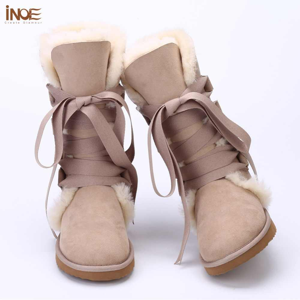חדש אופנה תחרה עד שלג מגפי נשים שרוך נעל אמיתי כבש עור טבע צמר פרווה חורף נעלי גברת משלוח חינם