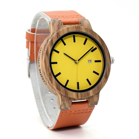 BOBO BIRD L-O09 Yellow Dial Ladies Watches with Calendar Design Zebra Wooden Watches for Men in Gift Box Drop Shipping Lahore