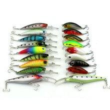 18Pcs/set Mixed 3 Models Wobbler Minnow Fishing Bait Minnow CrankBait Tackle with VMC Hook Feather High Quality Luminous 3D Eyes