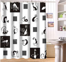 WJY425Y27 Custom Abstract sketch cat expression of black and white cat Fabric Modern Shower Curtain bathroom Waterproof XY27(China)