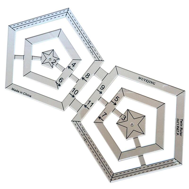 Ferramentas de costura acessório retalhos régua preto polígono escala material acrílico régua transparente multifuncional régua diy