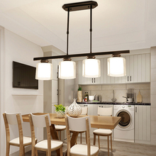 Lámpara de iluminación de techo colgante de cristal de Led NEGRO de diseño Vintage nórdico, lustres para sala de estar, cocina, Loft y dormitorio