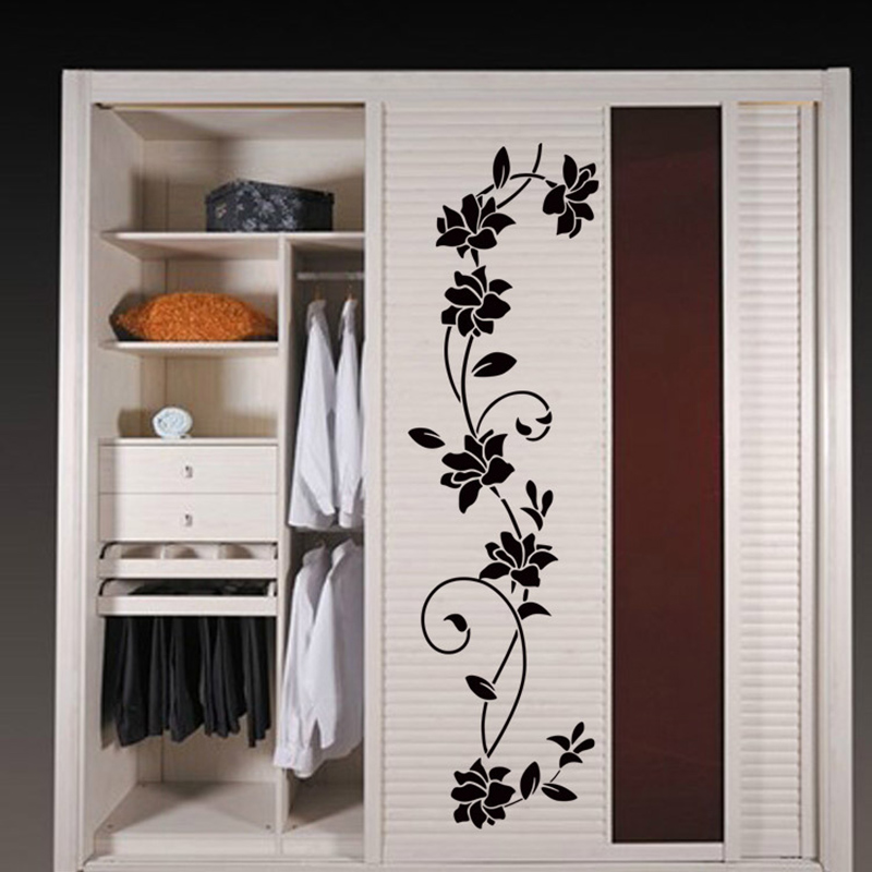 creative flower vine wardrobe stickers fridge magnet home. Black Bedroom Furniture Sets. Home Design Ideas