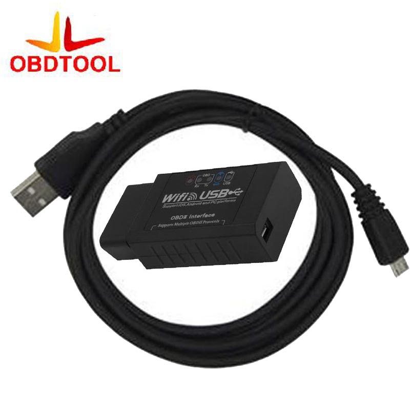 NEW Update ELM327 WIFI USB Car Scanner Interface ELM327 wifi OBD-II Scanner Professional Diagnostic Tool Support Android / ISO