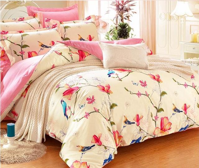 European And American Bird Bedding Sets Eyedrop Bedlinens King Size Duvet Cover Cotton Embroidery Top