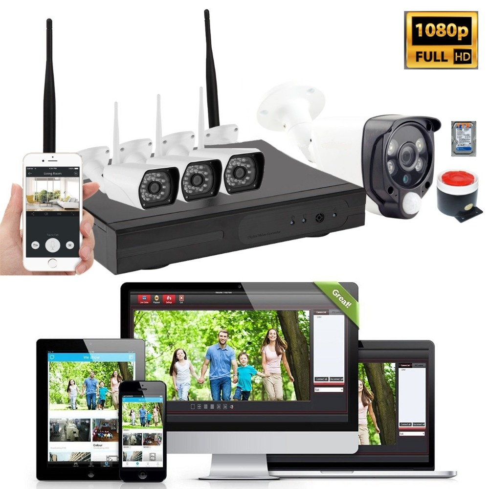 1080P 4CH WiFi Wireless Home Security Camera System CCTV NVR Kit PIR Motion Sensor Video Monitor with Siren Alarm 1TB HDD