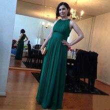 Neue Mode Türkis Chiffon Abendkleid Einfache Stil Falten Bodenlangen Frau Abendgesellschaft Kleider 2017