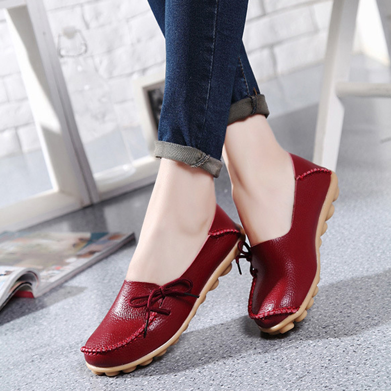 New Fashion PU Leather Women Casual Shoes Comfortable Moccasins Loafers Driving Women Flats Leisure Concise shoes big size 34-44