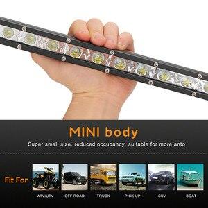 Image 4 - Luces Led Para Auto simple rangée mince LED barre lumineuse droite 8 pouces 18W 6LED Jeep UTV 4x4 bateau camion lampes LED pour les voitures