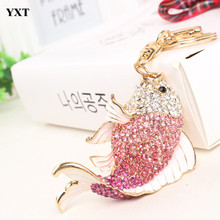 Carp Fish Keyring Creative Lovely Rhinestone Crystal Pendant Charm Purse Bag Key Chain Women Accessories Gift For Friend