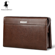 WilliamPOLO 2017 Fashion Large Capacity Long Wallet Men Genuine Leather Cash Holder Cigarette Holder Clutch Bag POLO171