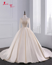 Jark Tozr New Design Lace Up Long Sleeve Wedding Gowns With Petticoat Robe De Mariee 2017 Full Beads Bodice Satin Bridal Dress