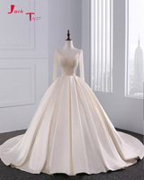 Jark Tozr New Design Lace Up Long Sleeve Wedding Gowns With Petticoat Robe De Mariee 2017