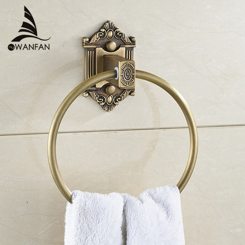 Towel Rings Antique Solid Brass Wall Mounted Towel Holder Home Decor Carved Hanger Bathroom Accessories Bath Towel Ring WF-71205 aluminum wall mounted square antique brass bath towel rack active bathroom towel holder double towel shelf bathroom accessories