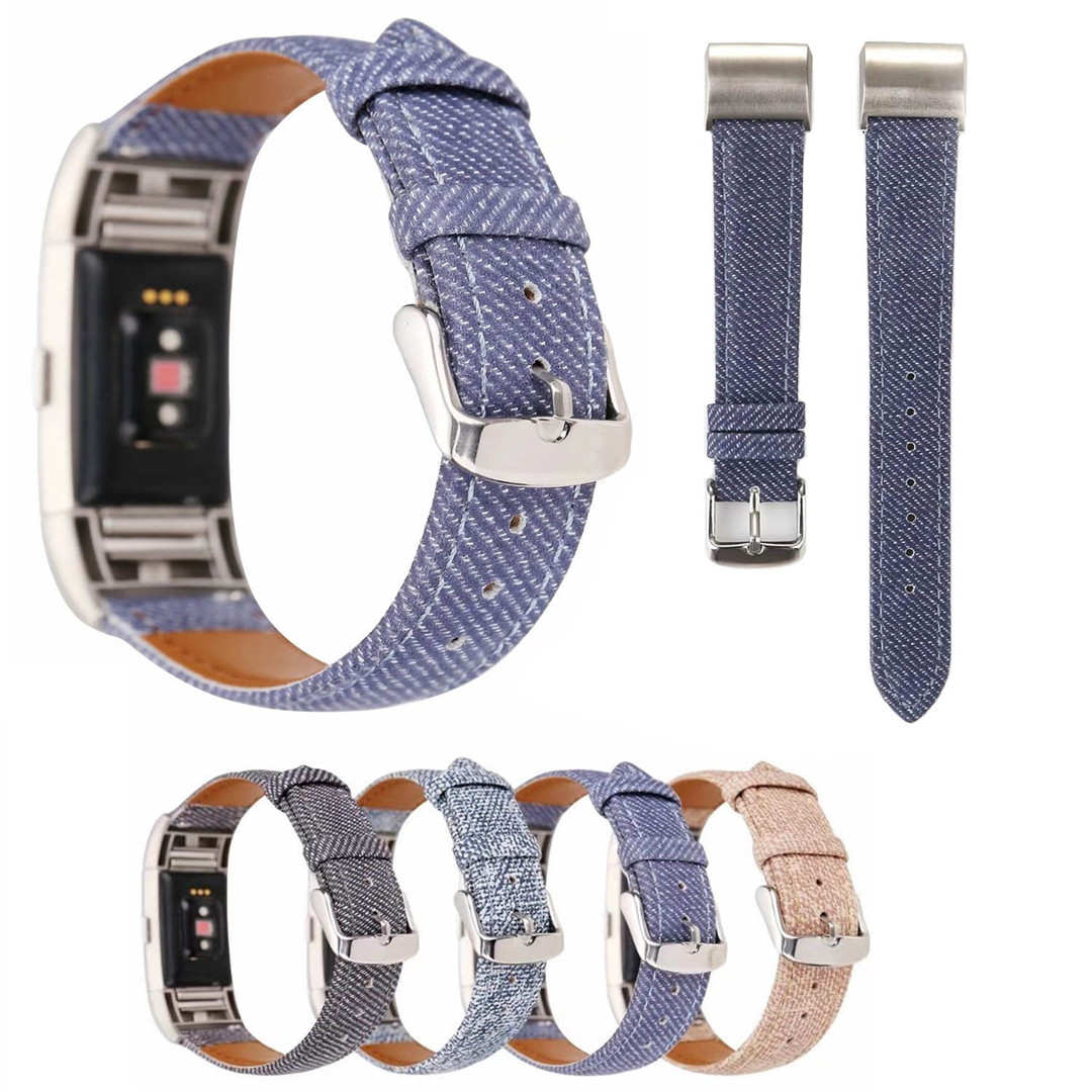 Stylish Cowboy Denim Jeans Pattern Print Leather Band For Fitbit Charge 2 Watch Strap for Charge2 Wristband Bracelet Connectors аксессуар jbl jblchargecasegray grey чехол для charge charge2 charge2