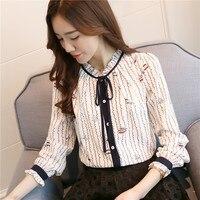 Wild chiffon shirt female 2019 spring new Korean long sleeved shirt fashion stand collar shirt