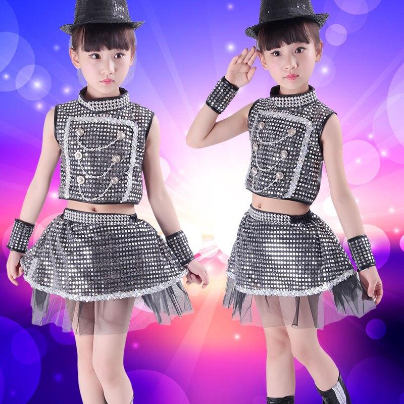 De los niños Jazz Dance trajes Niños y Niñas dance hip hop ropa de Lentejuelas  ropa DJ danza en de en AliExpress.com  fc16be0bf78