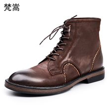 hot deal buy men's retro cowhide british army boots autumn winter martin boots men steel toe boots genuine leather mens chelsea boots male