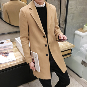 Image 3 - 2019 novo casaco de lã de inverno dos homens lazer longas seções casacos de lã cor pura casual moda jaquetas/casual