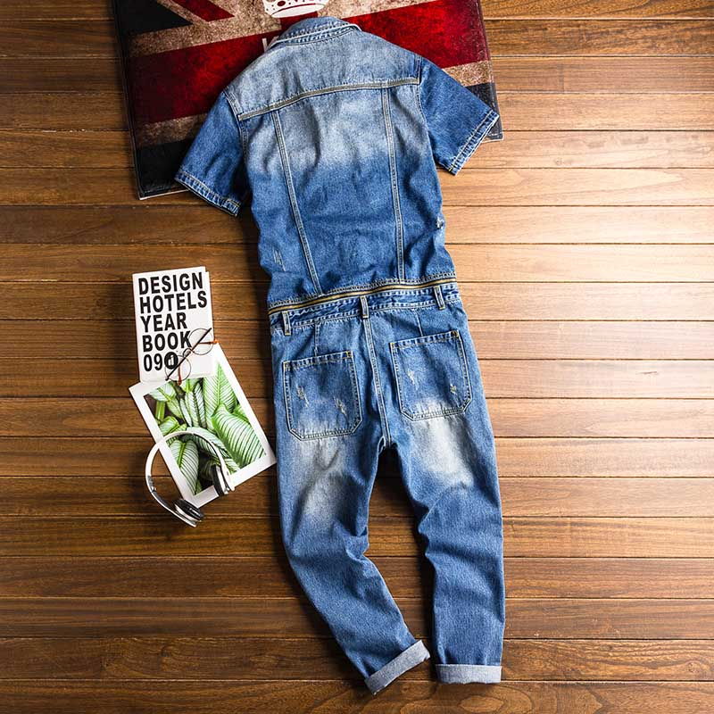 Mcikkny New Fashion Men\`s Ripped Denim Bib Overalls With Jackets Multi pockets Jeans Jumpsuit For Male Washed Size M-2XL (1)