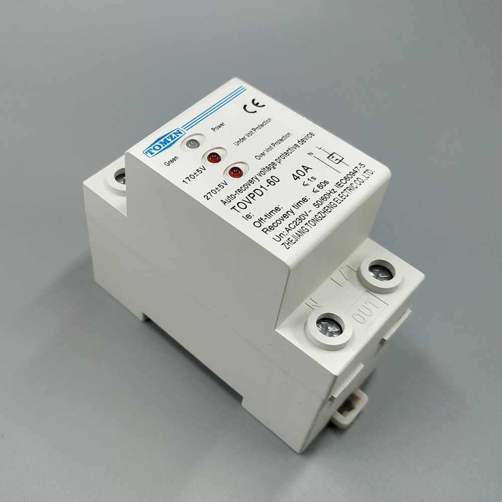 40A 230V Din rail 3 LED automatic reconnect over voltage and under voltage protective device protector protection relay