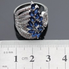 Dark Blue Stones White CZ Silver Color Rings Wedding Jewelry Women