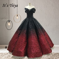 It's YiiYa Real Sequined Wedding Dresses Black And Red Floor length Court Dreaming Bling Sequined Wedding Gown De Novia H001 1