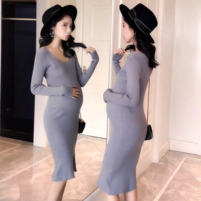 523365a6b26 Для беременных женщин высокие эластичные платье осенние и зимние платье  юбка платье для беременных длинный отрезок