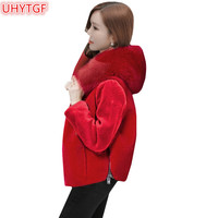 UHYTGF 2018 female fur coat winter faux fur Jacket Fashion Women short Jacket Womens black fur Tops coat and Hooded jackets 222