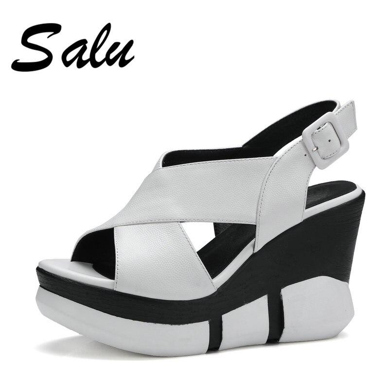Salu 2019 Genuine leather women sandals summer high heels wedges platform wedges open toe casual slippers