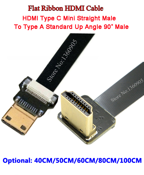 40/50/60/80/100CM Ultra Thin HDMI Cable Type A Up Angle 90 Degree Male To Male Type C Mini Straight Flat Ribbon Cable Airplanes