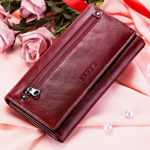 Image 5 - KAVIS Genuine Leather Women Wallet and Purse Female Coin Purse Portomonee Clamp For Money Bag Zipper Card Holder Handy Perse