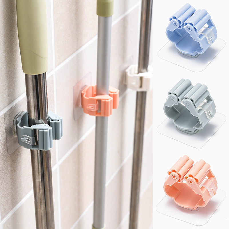 Mop Organizer 1PC Kitchen Tool High Quality ABS Hot Sale On Walls Mop And Broom Holder Hanger Seamless Storage Rack Folding Rack