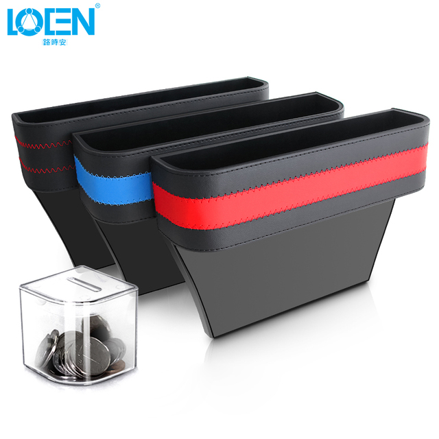 1PCS Universal Armrest Storage Car Seat Crevice Storage Box PU Leather Gap Organizer With A Coin Box Phone Wallet Holder