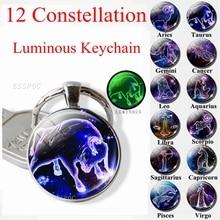 12 Constellation Keychain Zodiac Signs Key Chain Luminous Glass Cabochon Jewelry Aries Leo Taurus Libra Pendant Birthday Gift