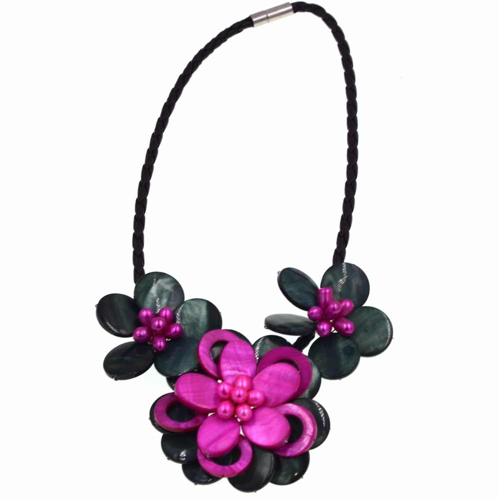 Fashion mop jewelry Dark green & hot pink mother of pearl shell flower choker necklace