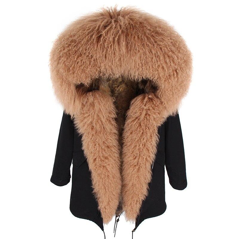 2018 De 8 Mongolie Femmes Raton Survêtement 5 Manteau Veste Liner Naturel Col D'hiver 6 Capot Moutons 1 Laveur Épais Parkas 7 Réel 3 Fourrure Détachable 4 2 OPkZuXTi