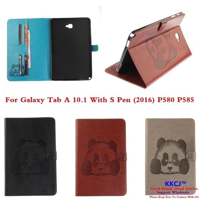 TX Печати Панда Бумажник Флип кожа pu Case For Samsung GALAXY Tab 10.1 A6 С S pen SM P580 P585 Планшет С Карты слот
