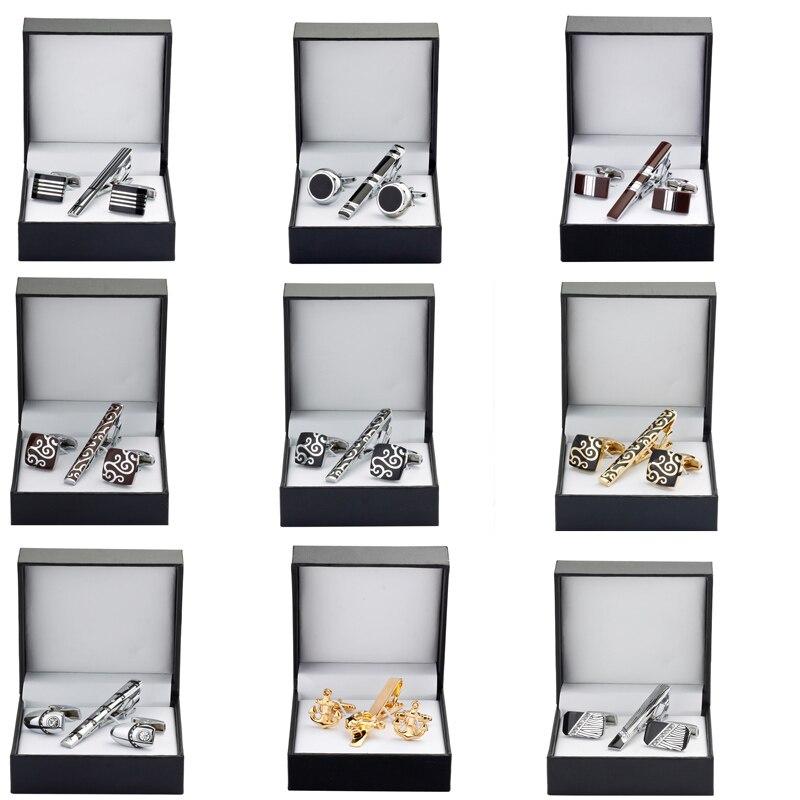 Haute qualité pince à cravate boutons de Manchette Cadeau Ensemble 13 styles à choisir hommes chemise cravate boutons de Manchette Pince à Cravate De Mariage Boîte à Bijoux livraison gratuite