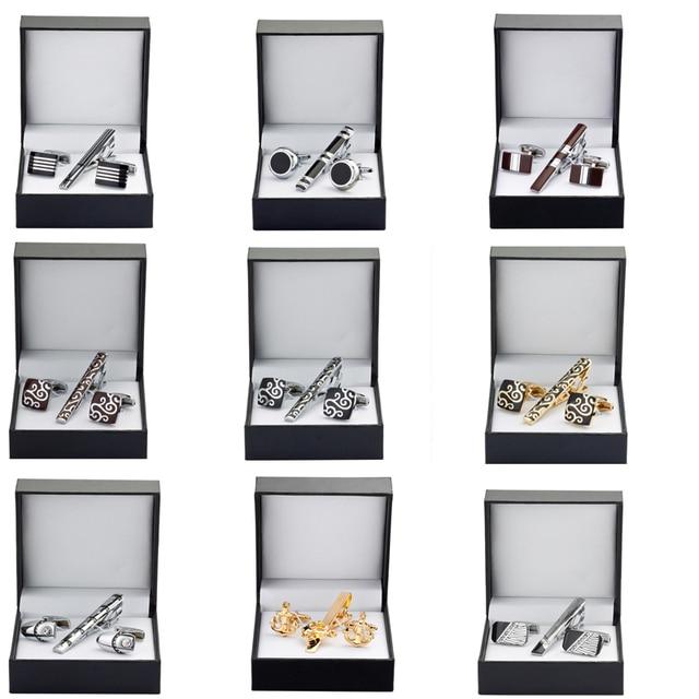 High quality tie clip Cufflinks Gift Set 13 styles to choose men tie shirt Cufflinks Tie Clip Wedding Jewelry Box
