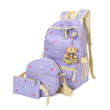 women canvas backpack 3 pcs/set Dot Printing Backpack Cute Light weight school Middle High School Bags Teenage Girls