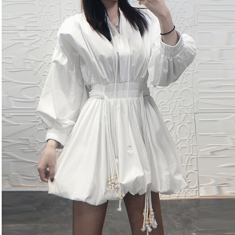 TOP QUALITY Paris Fashion 2019 Runway Designer Dress Women s Long Sleeve Lacing Rope Casual Dress
