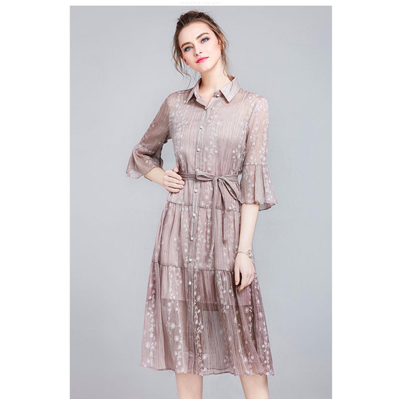 Brand Women Summer Dress 2018 New Ladies Party Dresses Solid Women's Turndown Collar Casual Vintage Dress Pink Lace Dress PQ364 - 3