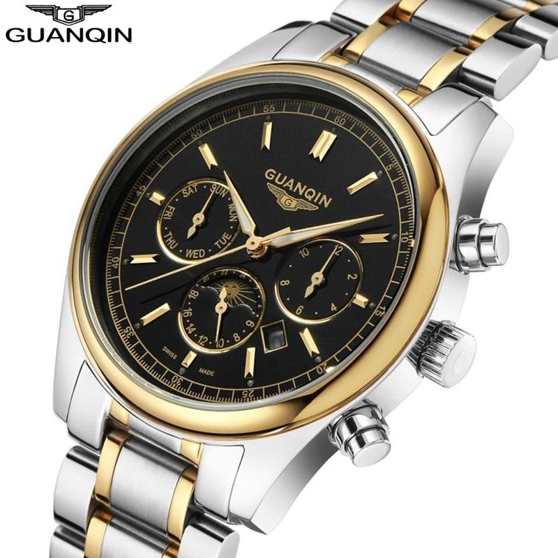 2018 GUANQIN montres hommes mince Quartz montre étanche lumineux homme horloge multifonction semaine affichage montre-bracelet Relogio Masculino