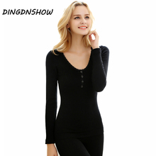 [DINGDNSHOW] 2020 Thermal Underwear Women Four Grain of Buckle Wool Eamless Long John Winter Cultivate Morality Shaped Women Set