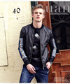 Fanzhuan Free Shipping New casual men's male Fashion Black jacquard Metrosexual jacket organza Embroidered soft leather 610171