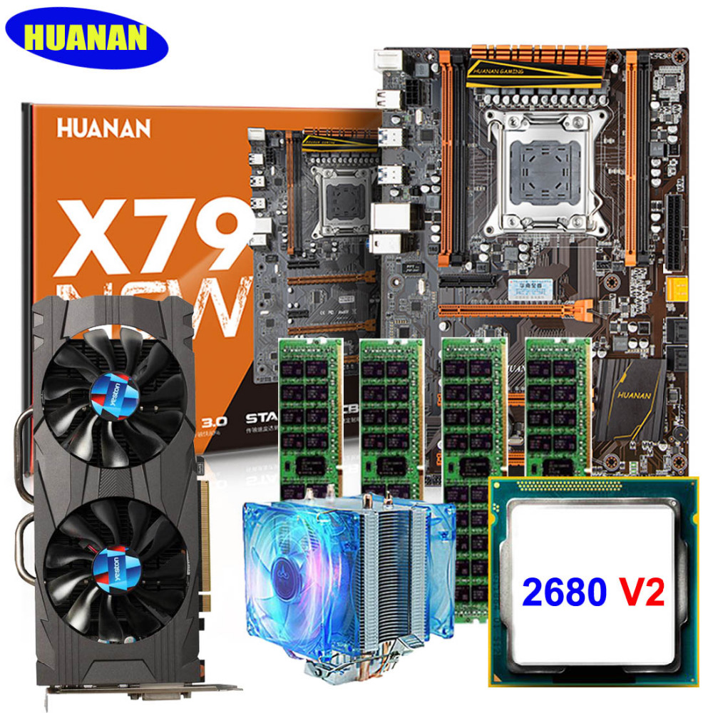 New HUANAN deluxe X79 gaming motherboard CPU RAM set with Video card GTX1060 3G DDR5 Xeon