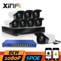 XINFI 8CH POE Surveillance System With 8ch HDMI NVR Recorder 9 Ports POE Switch 1080P 2