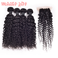 Cheap Brazilian Water Wave Silk Base Closure With Bundles Brazilian Virgin Hair Water Curly Human Hair With Closure